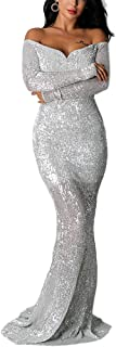 Ohvera Women's Off Shoulder Sequined Long Sleeve Party Cocktail Evening Prom Gown Mermaid Maxi Long Dress