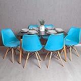 Regalos Miguel - Conjuntos - Conjunto Mesa Tower Rectangular 120 x 80 cm Negra y Pack 6 Sillas Tilsen - Azul Celeste - Envío Desde España