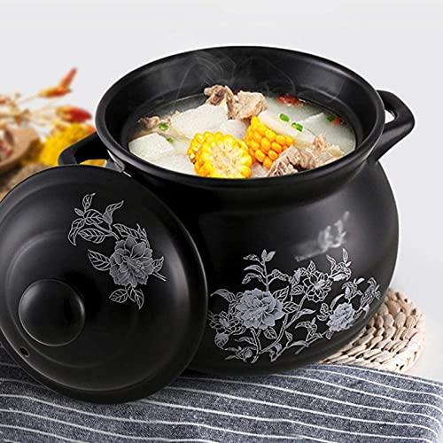 HYYDP Cacerolas Casserole Platos con Tapas Terracotta Potes de Cocina Clay Casserole-Anti-Scald y Resistente al Calor, diseño Especial (Size : 2.6L)