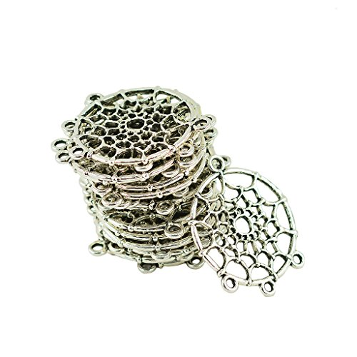 Baoblaze 20pcs Pendentifs Charmes en Alliage Capteur de Rêve Connecteurs Conclusions pour Fabrication de Bijoux DIY Bricolage - Argent Tibétain