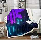 BEDJFH Azul Morado 3D Sherpa Manta Luces nocturnas Manta de Felpa 180cm x 200cm Manta de Lana Sobrecama para Baby Shower Mantas para Cama Sofá Dormitorio Vivero