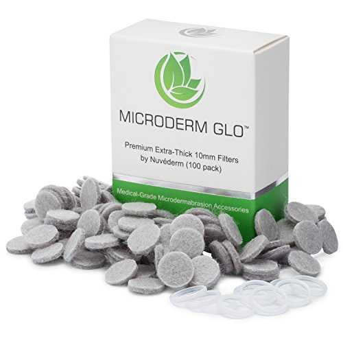 Microderm GLO Premium Extra-Thick 10mm Filters by Nuvéderm (100 pack) - Medical Grade Microdermabrasion Accessories with Patented Safe3D Technology, FDA Approved, Safe for All Skin Types.