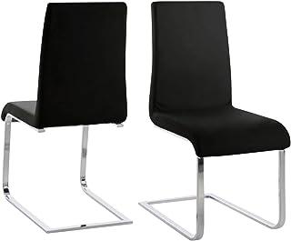 Amazon Brand - Movian Mures - Juego de 2 sillas de comedor 61 x 44 x 965cm negro