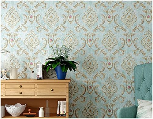 3D Papel Pintado No Tejido 9,5 m x 0,53 m Flor grande vintage Papel de Pared para Sala de Estar Habitación Cocina Comedor Fondo de TV, Azul claro