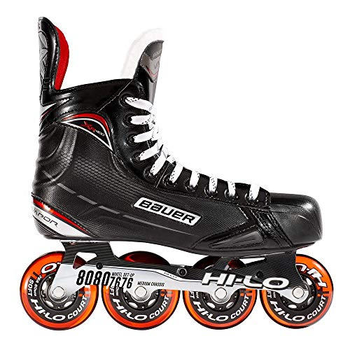 Bauer Inlinehockey Skates XR400 JR 76A Court, 5.0 (EU38.5) ABEC 5 Bearing, HI-LO Steel Chassis, Thermoformbar, Anatomical Foam Padding, Microfaser
