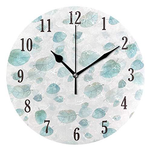 Zseeda Reloj de Pared Redondo de Hojas Frescas y Preciosas Movimiento de Barrido preciso con Pilas, Decorativo para Sala de Estar, Dormitorio, Oficina
