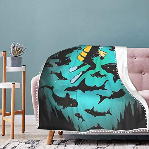 Alysai Funny Shark and Diver Throw Blanket Textured Solid Soft Sofa Couch Cover Decorative Blanket 60'x50'