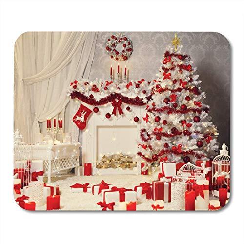 Mauspads Rot Festliche Weihnachtszimmer Interieur Weiß Weihnachtsbaum Kamin Mauspad für Notebooks, Desktop-Computer Matten Büromaterial