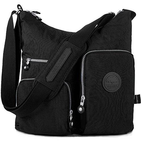 INSIDE POCKETS: back wall zip pocket, slip pockets(cell phone and cards) OUTSIDE POCKETS: front zip pockets for handy essentials, back zip pocket for valuables ADJUSTABLE SHOULDER STRAP: allows you to wear the bag as a shoulder bag or crossbody bag D...