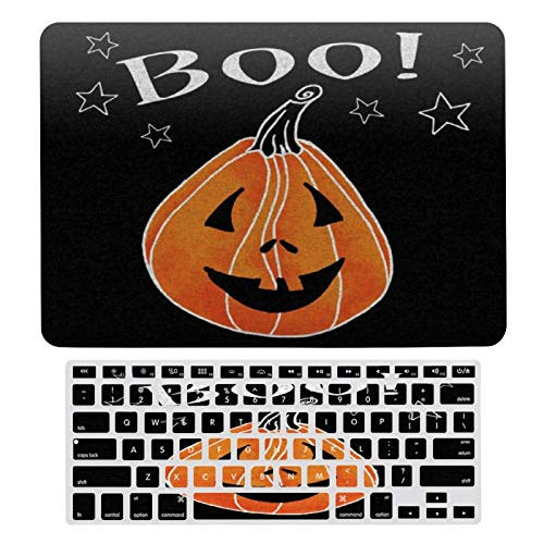 MacBook New Pro 13 Touch 13 Inch Case A1706, A198, A2159, Plastic Hard Shell & Keyboard Cover Compatible with MacBook, Spooky Jack O Lantern Laptop Protective Shell Set