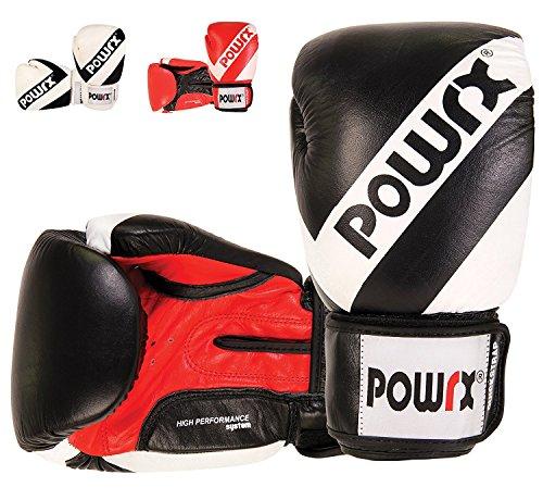 POWRX Guantoni da Boxe in Vera Pelle - Perfetti Anche per la Muay Thai, Kickboxing, Sparring e Allenamento con Il Sacco - Unisex (14 oz/Nero)