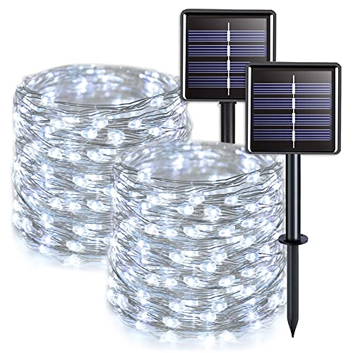 JMEXSUSS Solar Fairy Lights Outdoor Waterproof 2 Pack Each 33ft 100 LED White Solar String Lights, 8 Lighting Modes Silver Wire Solar Christmas Lights for Patio Wedding Party Tree Garden Decoration