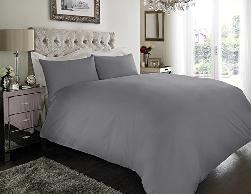 Sapphire Collection 100% Egyptian Cotton 200 Thread Count Duvet Cover With Pillow Case Bedding Set (Single, Grey)