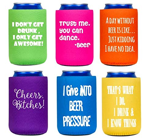 Funny Can Cooler, 6 pack, multi-color, non-collapsible round bottom, gift, party favors