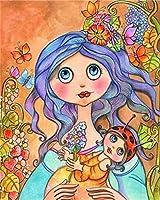 Diyナンバードペインティング初心者オイルペインティングアニメの女の子6カラーテクスチャ画像塗装リビングルーム廊下装飾 40*50Cm-1