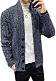 SSSQUN Mens Winter Thicken Cable Knitted Shawl Collar Button Down Open Front Cardigan Coat