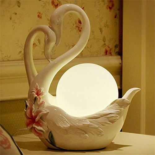 Jack Mall moda europea lampada creativa calda di lusso nuovo cigno di nozze contatore lampada da comodino pratico (Colore : Bianca)