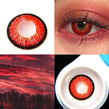 Makeup for Party Cosplay Fashion Show Halloween,Colored Contacts for Eyes Cosplay  Red