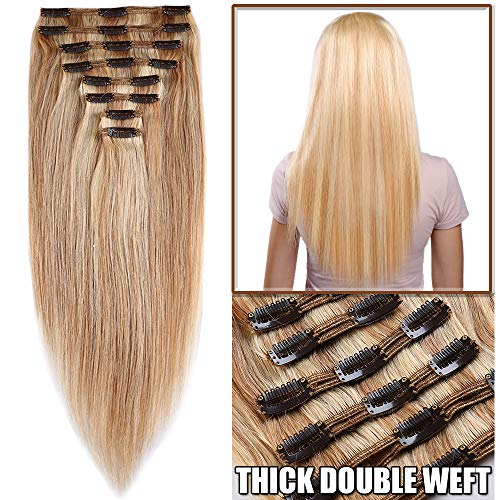 Extension a Clip Cheveux Naturel Rajout Vrai Cheveux Humain Maxi Epaisseur - Remy Hair - 8 Pcs Clip in Human Hair Extensions Double Weft (#18+613 SABLE BLOND MECHE BLOND CLAIR, 30cm-115g)