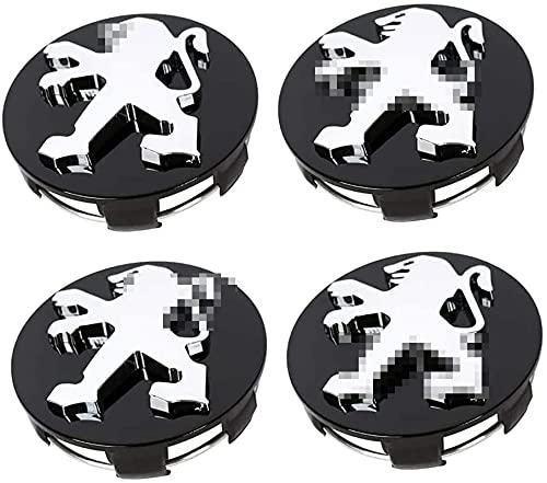 4 Piezas Tapas centrales para Llantas 60mm,Cubierta de neumáticos,Tapacubos para Coche Centro De Rueda para Peugeot