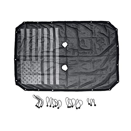JK Bikini Top Mesh Sunshade for Jeep Wrangler JK JKU 2007-2017 2 Door 4 Door Bikini Mesh Sun Shade Net Freedom Top Cover,UV Protection Sunscreen (US Flag, JK 4 Door)