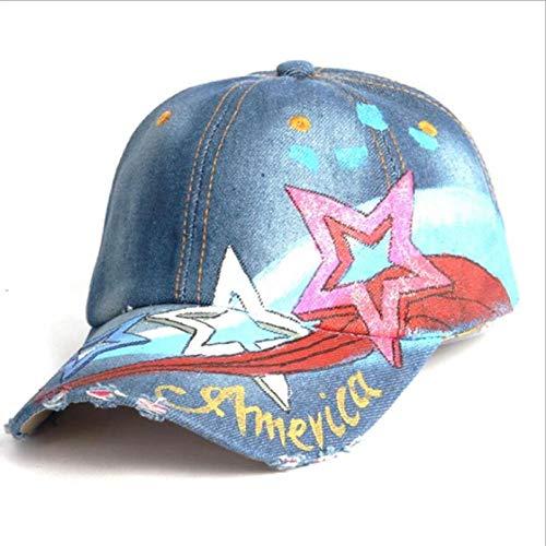 Casquette Homme Chapeau Solid Blue Jeans Pentagram Baseball Hat Cap Cowboy Dad Hat Curved Ball Cap Navyblue