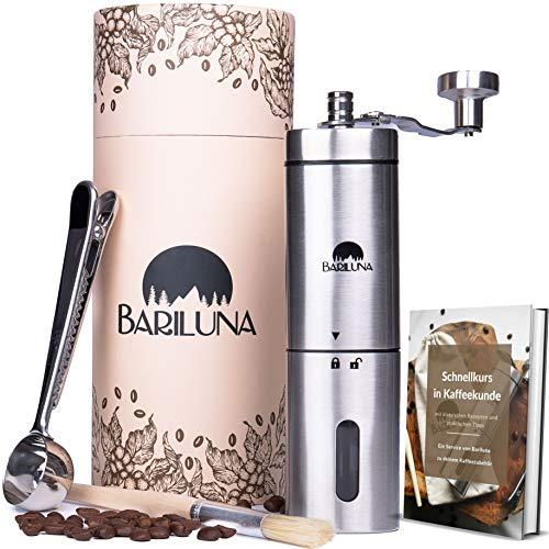 BARILUNA® Kaffeemühle manuell aus Edelstahl, Handkaffeemühle mit präzisem Keramikmahlwerk - einstellbar, mit praktischem Zubehör, inkl. E-Book, Hand-Espressomühle für Küche, Camping und Outdoor
