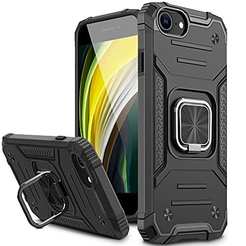 Vakoo Armor Series Cover per iPhone 8 iPhone 7 iPhone SE 2020,360°Rotante Anello Magnetica Supporto Silicone Custodia per iPhone 8 iPhone 7 iPhone SE 2020 - Nero