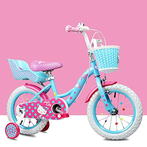 FYRS Hello Kitty Kids Bike Girls 12/14/16'pour 2 à 3 Ans, Rayon Crypté, Cadre en Acier à Haute...