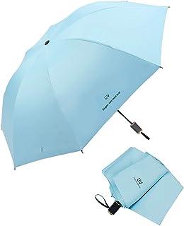 Paraguas Plegable de Viaje, Portátil 38 Inch 8 Costillas Paraguas, Negro Tela de Goma Anti-UV UPF50 para Actividades al Aire Libre - Azul Cielo
