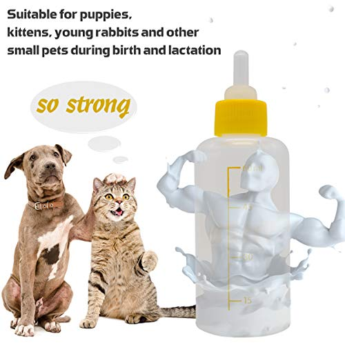 Pet Feeding Bottle Can Squeeze Liquid Feeding Kit and Replacement Mini Nipples for Kitten Puppy Small Animals Feeding Tool