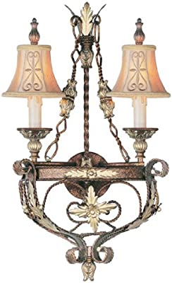 7-Inch Toltec Lighting 110-BRZ-454 Leaf Two-Light Wall Sconce Bronze Finish with Firr/é Saturn Glass Shade
