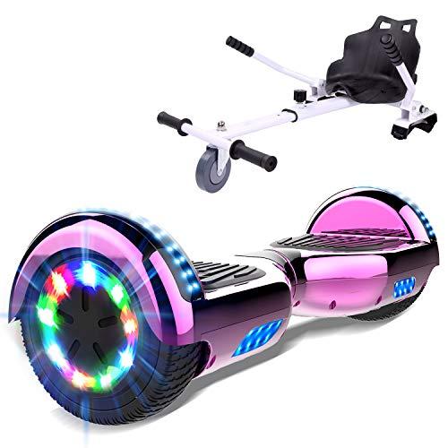 GEARSTONE HoverBoard monopatín + HoverKart con Bluetooth e iluminación LED 6,5 pulgadas Scooter eléctrico Self Balance Scooter E Overboard para niños y adolescentes