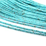 Blue Turquoise Loose Beads Round Natural Stone Punching Beads Decoration Accessories (2 strands) for Jewelry Making Necklace Bracelet Gift 2mm 15 inches