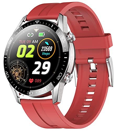 XYJ 2021 Pantalla Redonda SmartWatch para Deportes Fitness Tracker con Monitor de tasa de Herat Monitor Monitor Smartphone Notificaciones Monitor de sueño para iOS/Andorid (Color : Red)