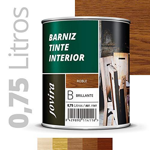 BARNIZ TINTE INTERIOR BRILLANTE Protege, decora y embellece todo tipo de madera. 750ML ROBLE