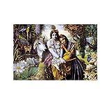 wangcheng Hindu God Radha Krishna Love,Artwork Draw Canvas Art Poster and Wall Art Picture Print Modern Family Bedroom Decor Posters 16x24inch(40x60cm)