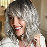 ROSEBUD Wavy Bob Wig with Bangs Natural Ombre Silver Wig Synthetic Hair Shoulder Length Short Curly Wigs for Women