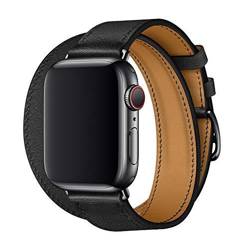 XCool Cinturino Apple Watch 42mm 44mm, Pelle Nero Double Tour Arancia per Donna Uomo per iwatch Serie 5 Serie 4 Serie 3 Serie 2 Serie 1