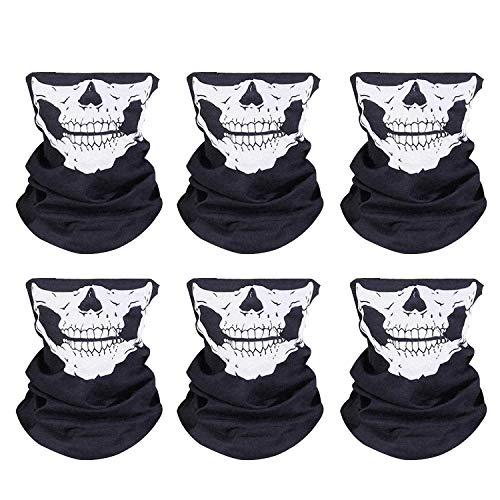 ZWOOS [6 Stück] Skull Maske, Halb Schädel Gesicht Schlauch Maske Gesichtsmaske,Multifunktionstuch Stirnband Motorradmaske Bandana für Motorrad, Fahrrad, Wandern, Ski, Halloween