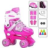 YUANYI Patines Ajustables Niña Principiantes Niños Niñas Flash Ruedas Dobles Zapatos De Patinaje Juego 2-18 Años De Edad,Pink-S
