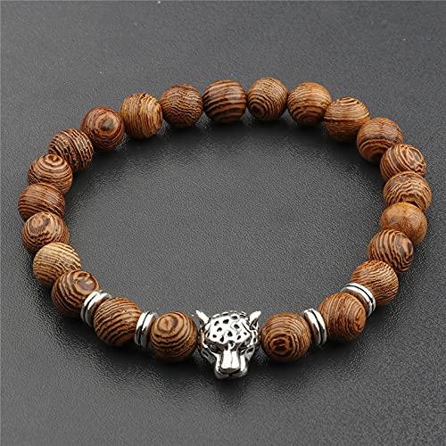 sdfpj 108 Beads Yoga Pulsera for Mujeres Hombres Sandalia Natural Buddhist Buddha Buda Oración con Cuentas Lotus OM Collares de Pulseras de Rosario (Metal Color : Antique Copper Plated)