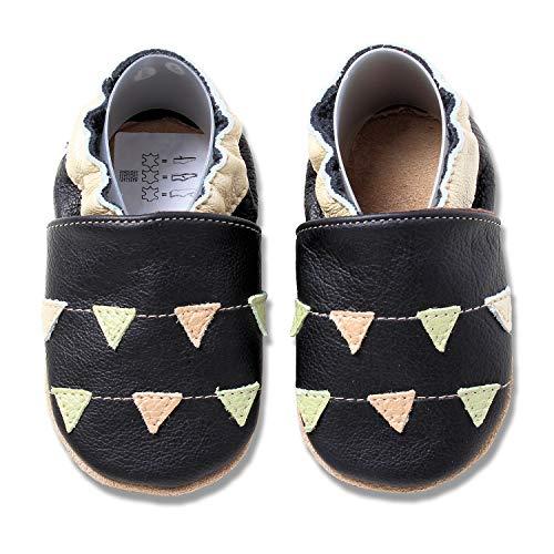 HOBEA-Germany Krabbelschuhe für Mädchen, Schuhgröße:22/23 (18-24 Monate), Modell Schuhe:Girlanden schwarz
