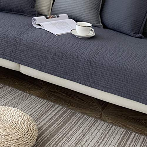 Color Sólido Protector De Muebles Protector para En Parama De L Fundas para Sofa,Anti-resbalón La Funda para Sofa para Mascotas Perros,Algodón Funda Sofá-Gris 90 * 210cm