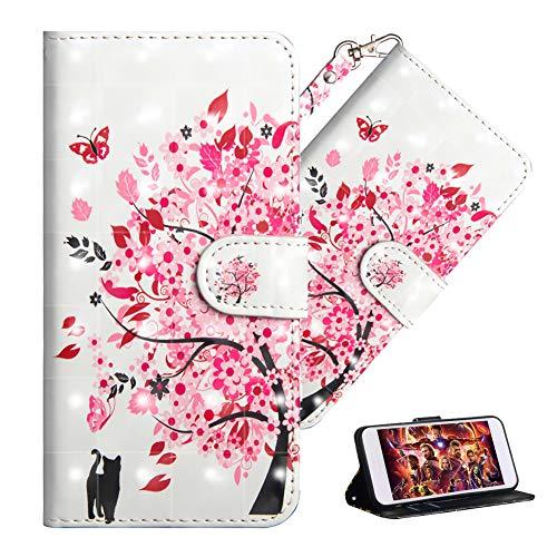 QIVSTARS Case for Asus Zenfone V V520KL Magnet PU Soft Lovely 3D Case with Lanyard Stand Scratchproof Case Full Body Protective Flip Cover Case for Asus Zenfone V V520KL Cat Pink Tree YX