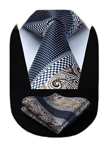 HISDERN Extra largo Floral Paisley lazo del panuelo Hombres Corbata & Plaza de bolsillo Conjunto Brown/azul marino