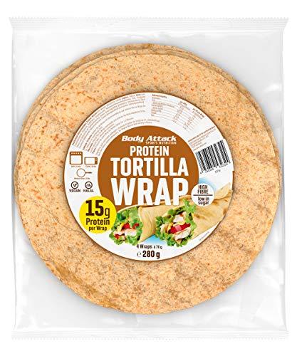 Body Attack Protein Tortilla Wraps, 4 Wraps á 70g, vegan, 22 % Pflanzen-Proteine aus Weizen, Lupinen & Hafer, zuckerarm, kalt und warm geniessen, ballaststoffreich, Made in Germany