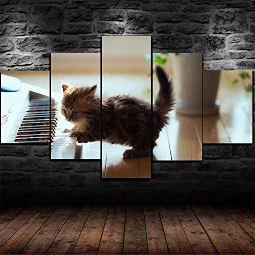 AWER 5 Piezas - Arte de Pared - Gato Tocando Piano Lindo Gatito - Cuadros de Lienzo nórdico - 5 Piezas Lona Murales Cuadro - Impresión en Lienzo - Enmarcado