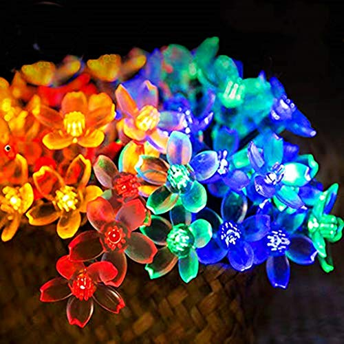 Chipark Solar String Lights Garden, 30 LED Blossom Solar Powered Fairy Lights 15.74ft 8 Modes Waterproof Outdoor Flower String Lights Twinkle Fairy Lights for Patio Yard Wedding Party (Multicolour)