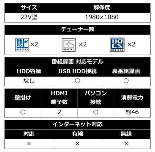 『シャープ 22V型 液晶 テレビ AQUOS LC-22K45-B フルハイビジョン 外付HDD対応(裏番組録画) ブラック』の3枚目の画像